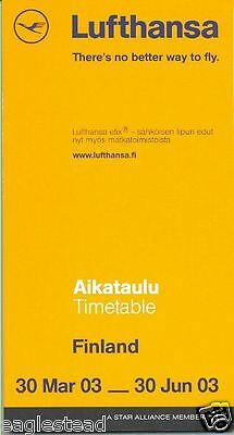 Airline Timetable - Lufthansa - 30/03/03 - Finland Edition