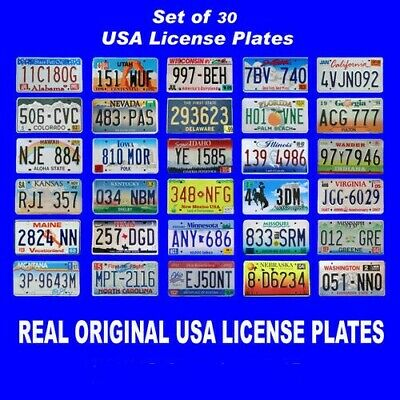 Set Of 30 United States License Plates Lot Tag Original Usa American Car Best 1