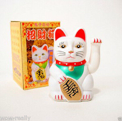 """CUTE LUCKY BECKONING WHITE CAT 5"""" WEALTH WAVING FENG SHUI JAPANESE"""