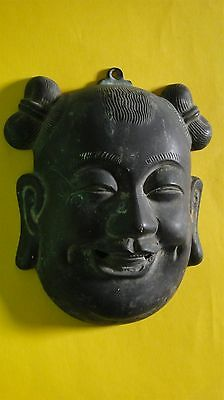 Antique Chinese Export Bronze Child Decorative Wall Mask