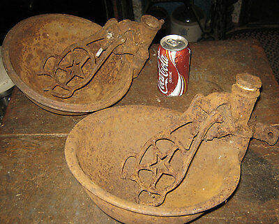 2 Antique Primitive Country Dairy Milk Cow Farm Cast Iron Star Water Bowl Holder