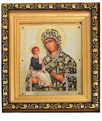 Gold Framed Glass Jewels Russian Icon Madonna and Child Virgin of Jerusalem Gift