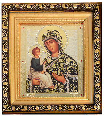 "Virgin of Jerusalem Madonna & Child 6 1/4"" Russian Icon in Jeweled Frame w Glass"