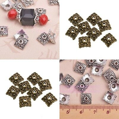 100 Pcs Silver Gold Bronze Tone Flower Square Bead End Caps 8mm
