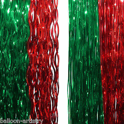 """2 Christmas Party 19"""" RED GREEN Foil Festive LAMETTA Tree Decorations"""