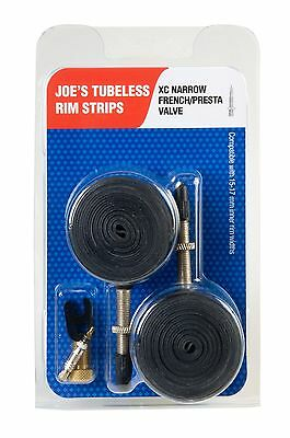 2 Joe's Tubeless Rim Strips XC  Narrow Fit Presta Valve 15-17mm JNTLR1517FV