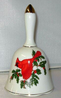 Beautiful Lefton Christmas Bell ~ Cardinal and Holly!