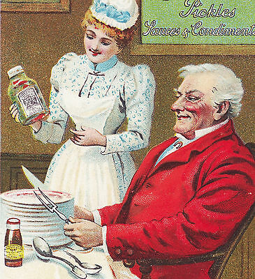 Crosse & Blackwell Pickles Sauce Condiments bottle maid Advertising Trade Card