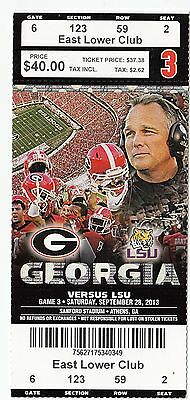 2013 Georgia Bulldogs Vs Lsu Tigers College Football Ticket Stub 9/28/13