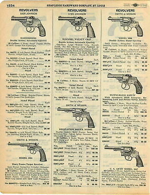 1929 AD Smith & Wesson US Army 1917 Model Iver Johnson Revolvers Police