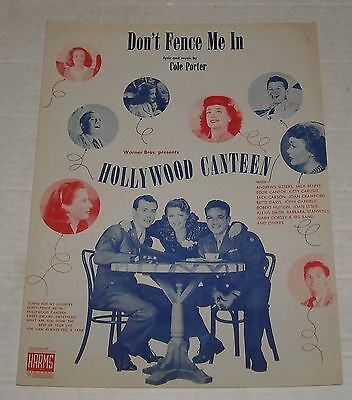 1944 DON'T FENCE ME IN FILM SOUNDTRACK SHEET MUSIC COLE PORTER ALL STAR CAST
