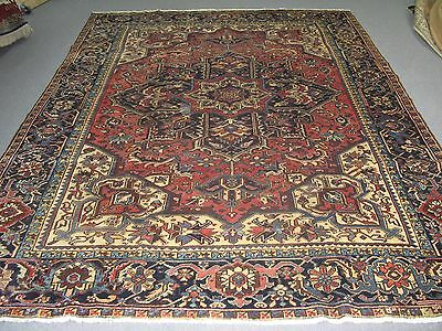Semi Antique Heriz Persian Area Rug Wool Hand Knotted 10'-0 x 13'-3