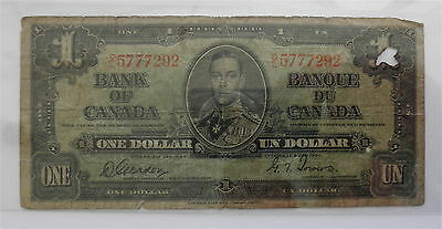 1937 Bank of Canada Ottawa One Dollar $1 Bill