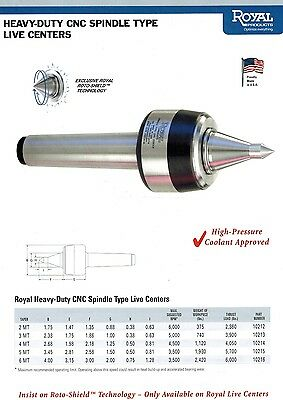 Royal Heavy Duty CNC Spindle Type Live Center Extended Point MT#3 10213