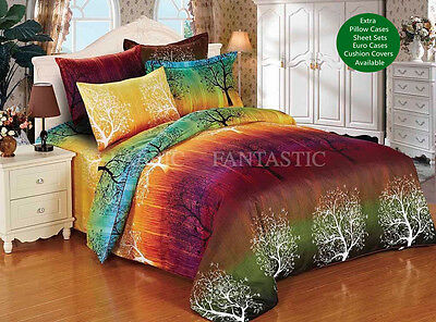 RAINBOW TREE Duvet/Doona/Quilt Cover Set Queen/King Size/Super King Size Bed New
