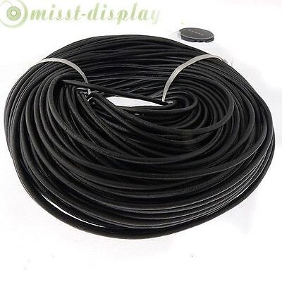 Real Genuine Leather Thong Cord- 1.5mm 2mm 2.5mm 3mm 4mm - Black 5-100 M