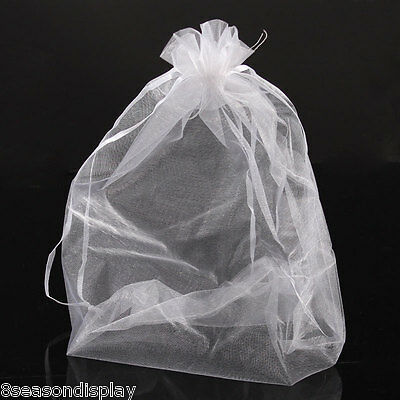 50PCs 20x30cm Organza Gift Bags Jewelry Pouches Wedding Favor White