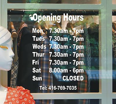 Opening hours times - A4 Shop Window Door Vinyl Sign Sticker Customised BUS1001
