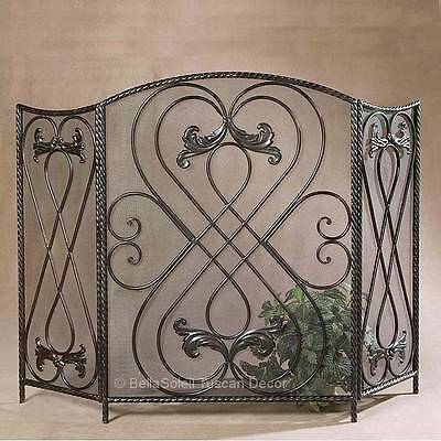 FRENCH TUSCAN Old World Mediterranean Style 3 PANEL FIREPLACE SCREEN