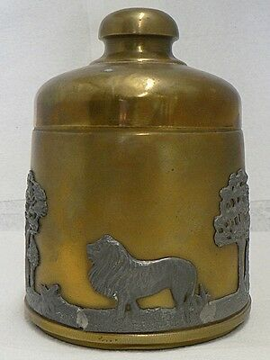 Old Rare Unique Brass Tobacco Tin