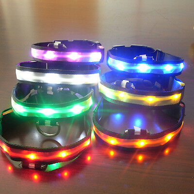 Pets Dog LED Lights Flash Night Safety Nylon Collar Adjustable S-XL