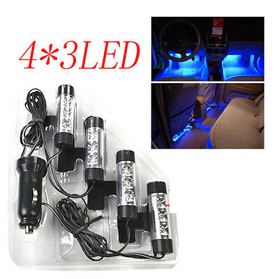 4 X3 LED Bright Blue Footwell LED Car Light Neon Car Charger Interior Decoration