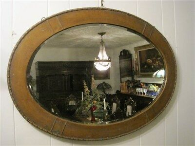 """Antique Victorian English Oval Beveled Wall Mirror Metal Brass Frame 35"""" x 25"""""""