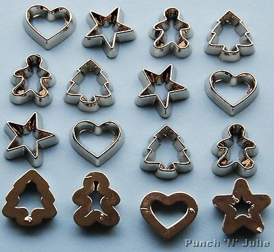 MINI COOKIE CUTTERS  Christmas Silver Gingerbread Star Tree Heart Embellishments