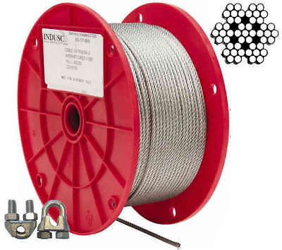 """Aircraft Steel Cable Wire Rope 250' 1/8"""" 7x7 Galvanized Cable 10pcs Cable Clamps"""