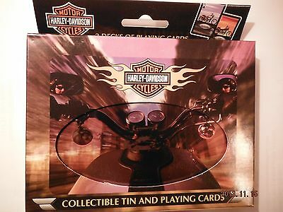 2002 Harley Davidson Collectors Tin and 2 Decks of Cards