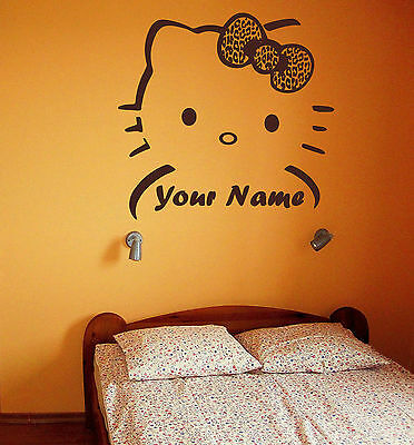 Customized Hello Kitty Leopard Bow Vinyl Wall Car Decal Sticker BIG or SMALL