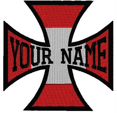 """2  4"""" Custom Embroidered Name Patch Iron Maltese Cross Crucifix Biker Motorcycle"""