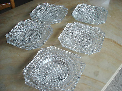 "Set 10 ANTIQUE EAPG Beaded HOBNAIL Glass Plates 8"" Pattern Glass Octagon"