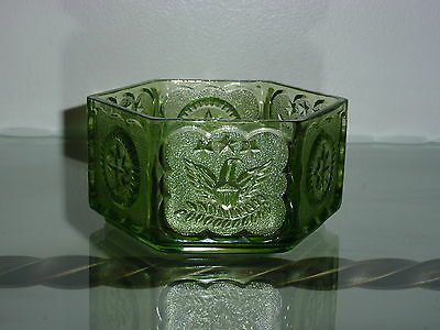 Vintage Patriotic Presidential Green Indiana Glass Eagle Star Hexagon Candy Dish
