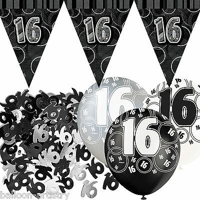 Black Silver Glitz 16th Birthday Flag Banner Party Decoration Pack Kit Set