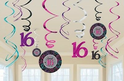 12 Sparkly Sweet 16 Hanging Swirls Cutouts Party Decorations Girls 16th Birthday