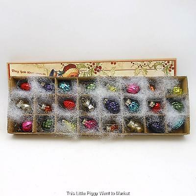 """Bethany Lowe Designs - 1"""" TINY VINTAGE STYLE GLASS KRUGEL ORNAMENTS - Box of 24"""