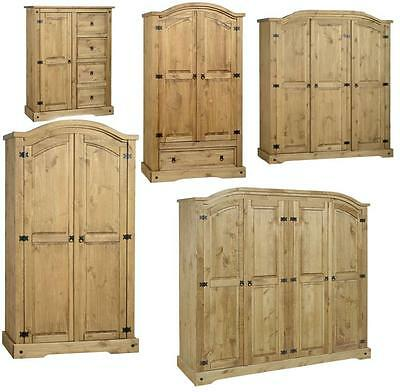 Corona Mexican Pine Wardrobe  2 Door, 3 Door, Drawers *free Next Day Delivery