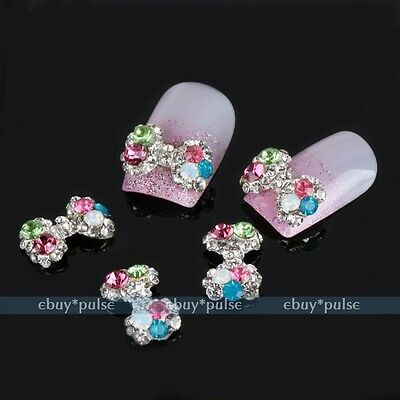 5x Silver Alloy 3D Colorful Crystal Bow Tie Nail Art Tip Glitters DIY Decoration