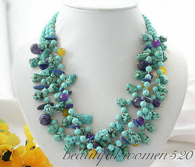 """beautiful 3row 20"""" baroque turquoise round bead Amethyst yellow jade NECKLACE"""