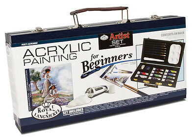 Beginners Acrylic Painting Travel Box Art Set Paints Tools & Guide Book Acry3000