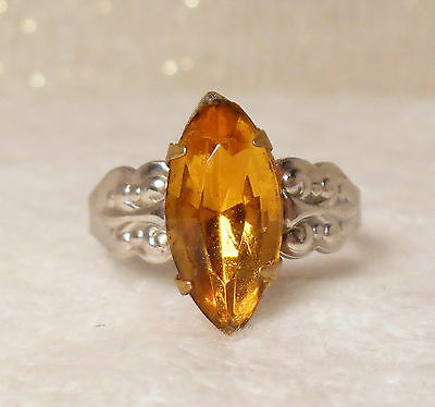 Victorian Ring Foil Back Marquise Paste Citrine Size7 Adjustable Shank