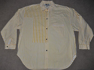 VTG 80s 90s PASTA yellow white striped long sleeve button Shirt funky pockets M