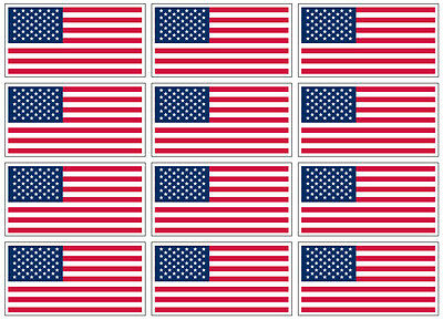"12 qty of 3""x5"" USA Flag Decal Sticker - American US flag"