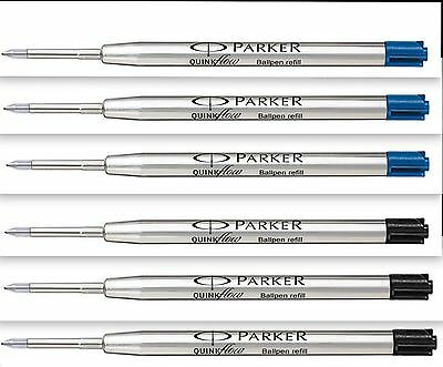 6 x Parker Quink Jotter Ballpoint Pen Refills 3 Blue Ink 3 Black Ink 0.8mm F New