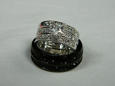 4 Piece His and Hers Wedding Band/Ring Set. FREE SHIPPING! FREE RING BOX!