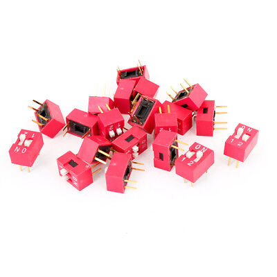 "20 Pieces 2.54mm 0.1"" Pitch 2 Position 4 Terminals Slide Type DIP Switches Red"