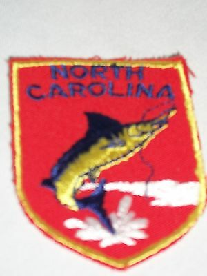 North Carolina State Souvenir Fabric Patch Red Fish Fishing Line White Water