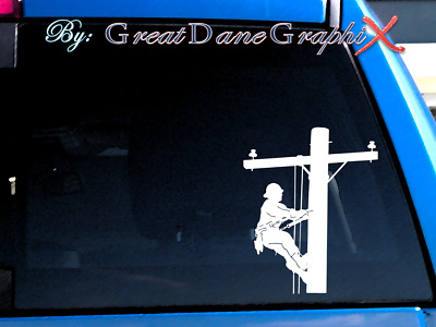 Line/Cable worker Lineman - Vinyl Decal Sticker -Color Choice- HIGH QUALITY