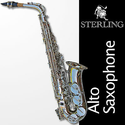 Nickel-Plated Alto Sax • Brand New STERLING Eb Saxophone • With Case  •